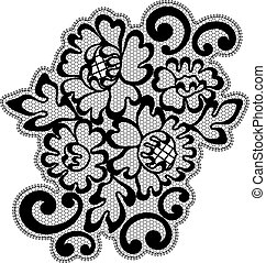 Black vector lace ornament - Vector ornament Black lace...