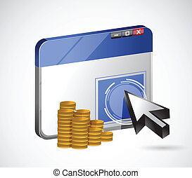 pay per click profits concept illustration design over a...