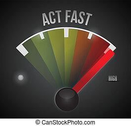act fast sign marker illustration design