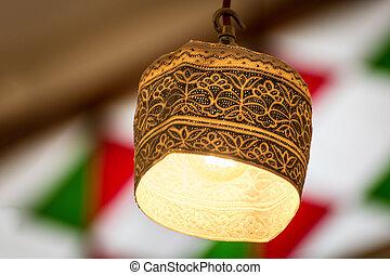 Omani lamp cap - Omani Cap (Kumma) as a lamp