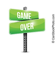 game over street sign illustration design over a white...