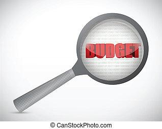 word budget under a magnify illustration design