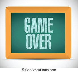 game over sign message illustration design over a white...