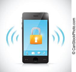 secure mobile online connection illustration design over a...