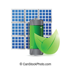 solar panel and eco battery illustration design