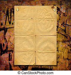 aviso, hoja, pared, Concreto, papel, grafiti