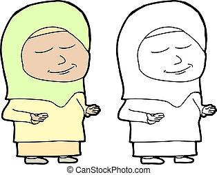 Muslim Woman Praying - Single Muslim female standing in...