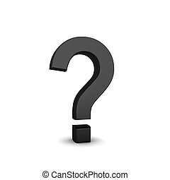 black question mark symbol  on a white background