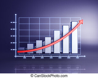 Abstract 3D statistics, business profit on a blue background