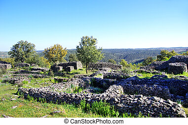 Ruins of Castro da Cola, Ourique, Portugal. - Archaeological...
