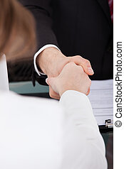 Businessman Shaking Hand With Female Candidate - Close-up of...