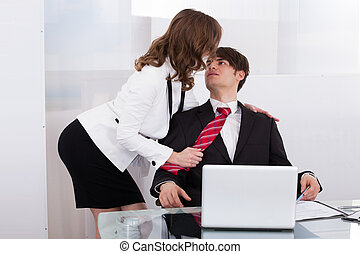 Sensuous Secretary Seducing Boss At Desk - Sensuous...