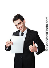 thumbup - a business man with a document gives a thumbup
