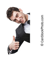 thumbup - Happy businessman behind a blank sign giving a...