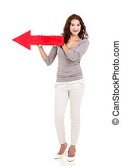 woman holding red arrow pointing to left