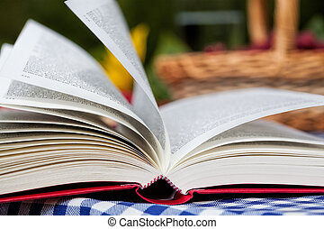 Opened book - An opened red book with a basket in the...