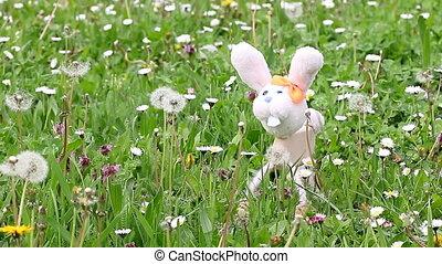 white rabbit marionette on green grass