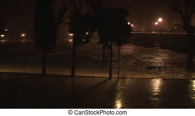 Overflowing river after heavy rain in Chiavari, Italy