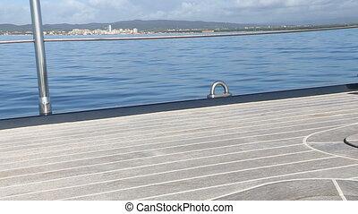 Main deck of sailing boat - Main deck of navigating sailing...