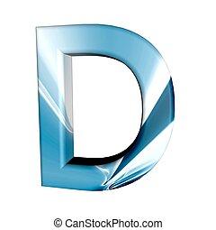 Błękitny, alfabet, litera, D, 3d, odizolowany, biały