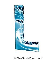 Błękitny, alfabet, litera, L, 3d, odizolowany, biały