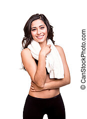 Woman wiping sweat with towel - Fitness woman wiping sweat...
