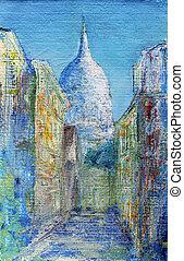 Montmartre, rua, Paris, França, pintado,...