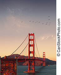 san francisco - Panoramic view of golden gate bridge san...