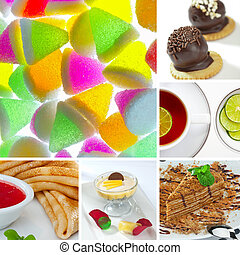 sweet mix - Food and drink theme photo collage composed of...