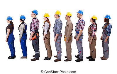 Construction workers standing in queue. Isolated on white