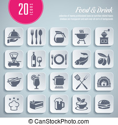 collection of 20 professional icons on food and drink themed...