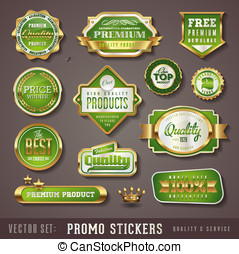 set of green and golden promo sealsstickers - quality and...