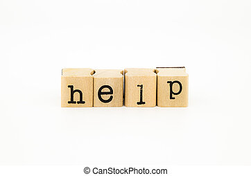 help wording, aid and support concept - closeup help wording...
