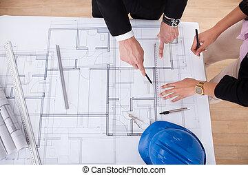 Arquitectos, trabajando, en, cianotipo