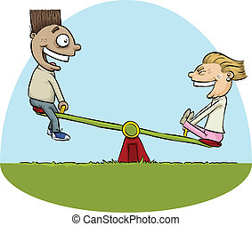 Seesaw Kids - A cartoon boy and girl having fun on a seesaw