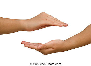 Two hands protecting something,Open hands holding.