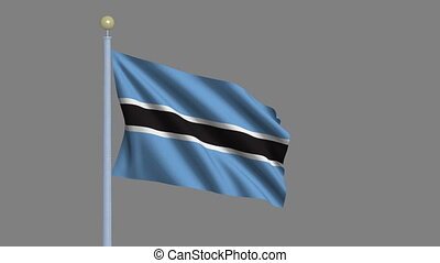 Flag of Botswana with alpha matte - Flag of Botswana waving...