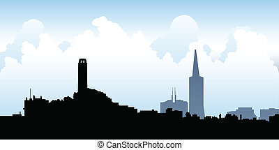 San Francisco Skyline - Cartoon skyline silhouette of the...