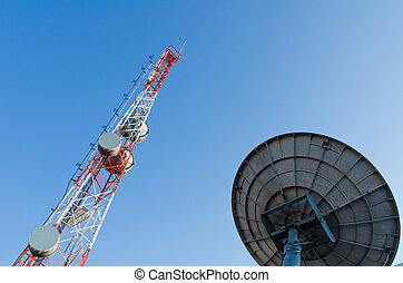 Communications Tower on blue sky