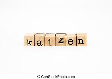 kaizen wording isolate on white background - closeup kaizen...