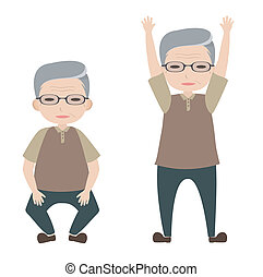 Old man character with knee bending and arm lifting posture