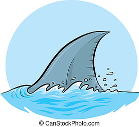 Shark Dorsal Fin - A cartoon dorsal fin of a shark