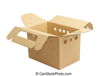 Cardboard box with door opened for carrying small pet