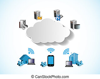 Cloud Computing Network - Vector Illustration of Sharing...