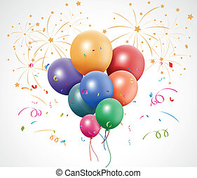 Colorful birthday with balloon