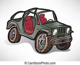 rajz, terep-, jármű, dzsip, khaki