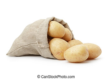 fresh young potato in sack bag, isolated on white