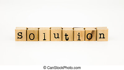 solution wording isolate on white background - closeup...