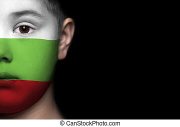 Human face  with flag of Bulgaria
