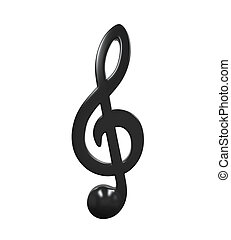 Music Note Icon isolated on white background. 3D render